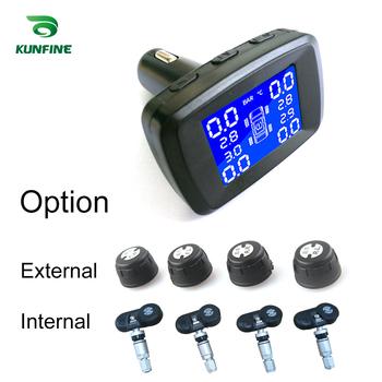 Inteligentny System monitorowania ciśnienia w oponach TPMS zapalniczki cyfrowe systemy alarmowe w samochodzie z 4 czujnikami tanie i dobre opinie KUNFINE 9 5cm Metal 12 v Systemy alarmowe i bezpieczeństwa 0 5kg 8 2cm KF-A1285