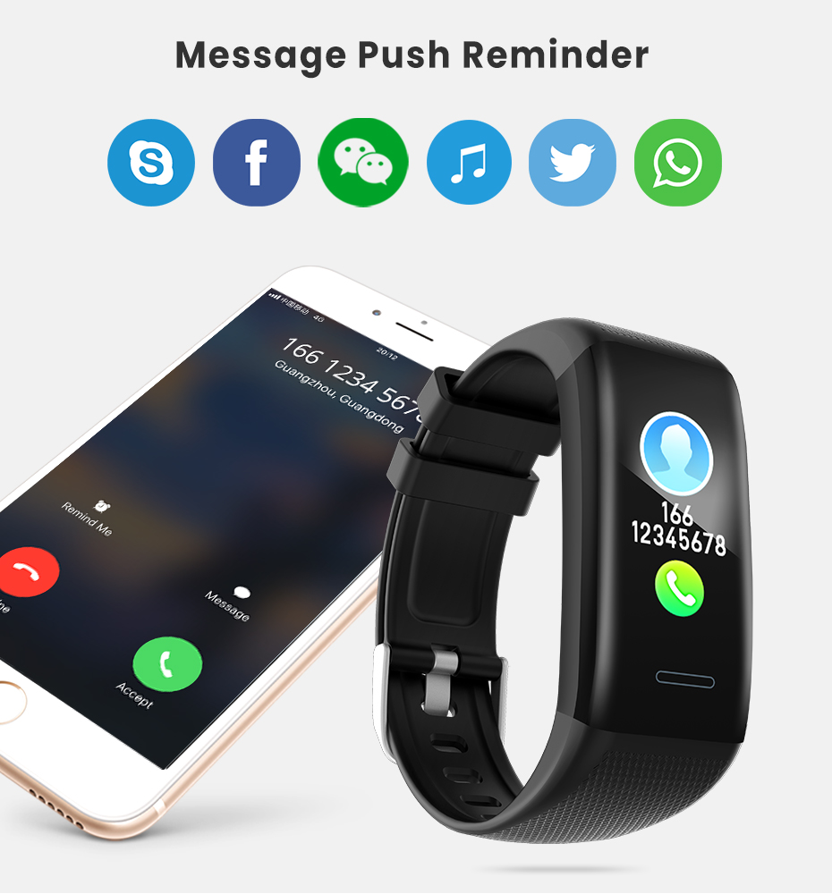 Men Women 1.14 IPS OLED Color Smart Wristbands Pedometer Sports Fitness Bracelet Blood Pressure Heart Rate Monitor Android IOS 9
