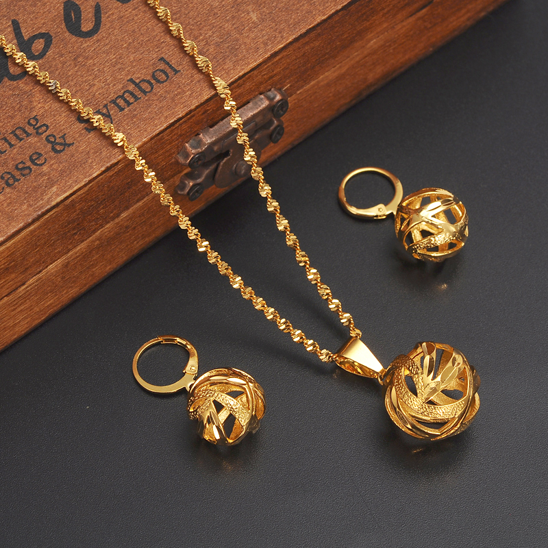 Gold Dubai India Ethiopian Jewelry Sets Forwomen Lady Habesha Africa Bridals Wedding Ball Gift Necklace Pendnat Earrings Diy In From