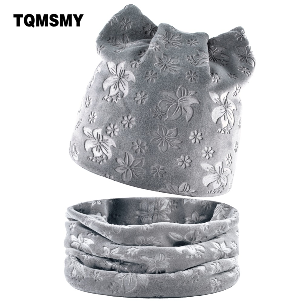 TQMSMY Flower Winter   Beanies   Women Scarf Knitted Hat Caps Mask Lady Warm Baggy Winter Hats For Women   Skullies     Beanies   Hats DH07T