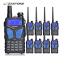8pcs Zastone ZT-V10 Two Way Radio Walkie Talkie Dual Band VHF/UHF 136-174MHz/400-520MHz 5W Handheld UHF Radio Scanner