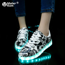Boyutu 27 42 LED ayakkabı aydınlık Sneakers ışıklı ayakkabı parlayan Sneakers aydınlık taban sepet ve kız çocuklar feminino Tenis