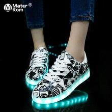 Größe 27 42 LED Schuhe Leucht Turnschuhe Licht Schuhe Glowing Turnschuhe mit Licht Sohle Korb für Jungen & Mädchen kinder Feminino Tenis