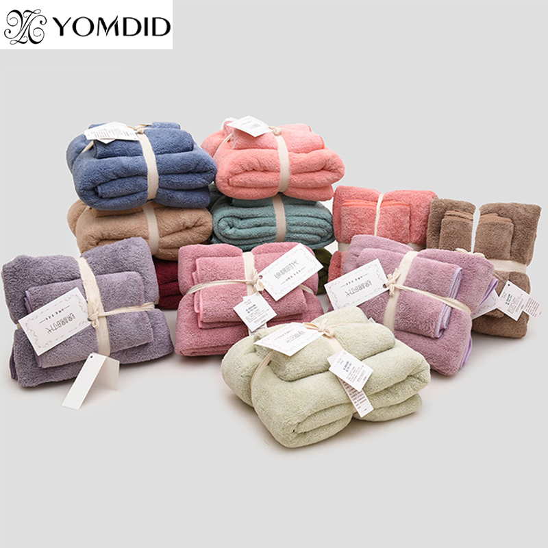 Image 1 - 12 Colors 2pcs Towel Microfiber Fabric Towel Set Plush Bath Face Hand Towel Quick Dry Towels for Adult kids bath Super Absorbent-in Towel Sets from Home & Garden