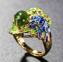 S925 стерлингового серебра кольца ювелирных изделий перегородчатой жареный синий ремесло зеленые листья натуральный камень кольца