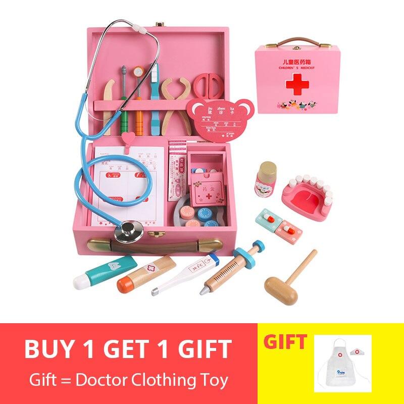 34Pcs Crianças Pretend Play Brinquedos De Madeira Gabinete Médico de Medicina de Role-play para Meninos Meninas Jogando Conjunto Presente de Aniversário 2019