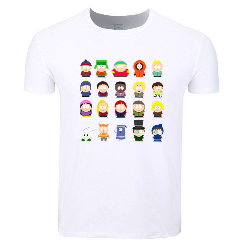 Asian Size Men Women Print South Park Cameo Appearance Cartoon T-shirt O-Neck Short Sleeve Summer Casual Fashion T-shirt HCP4343