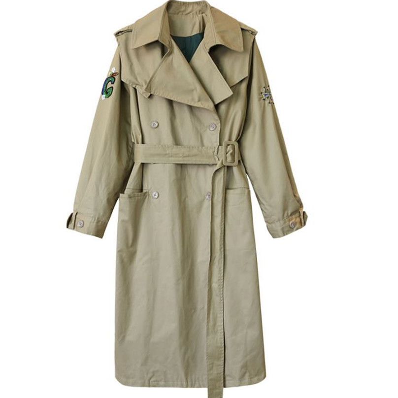 long trench women loose embroidery double-breasted coat