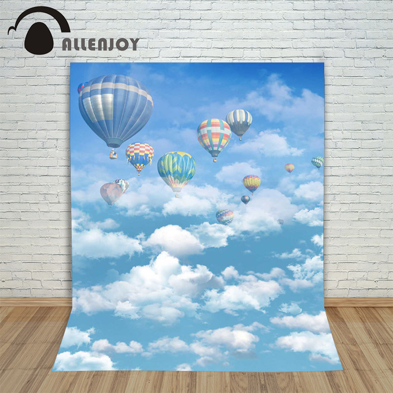 Allenjoy photographic background Hot air balloon sky and white clouds backdrops newborn children vinyl summer 10x20