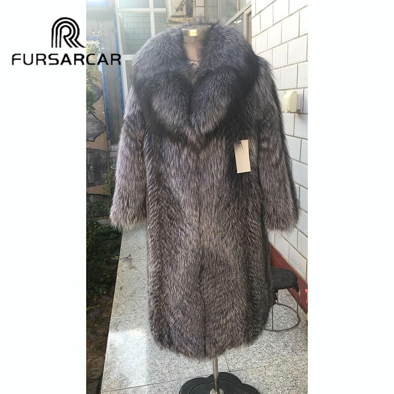 FURSARCAR New Winter Women Real Fur Coat 100 CM Length Natural Silver Fox Fur Fashion Warm Female Jacket With Turn down Collar