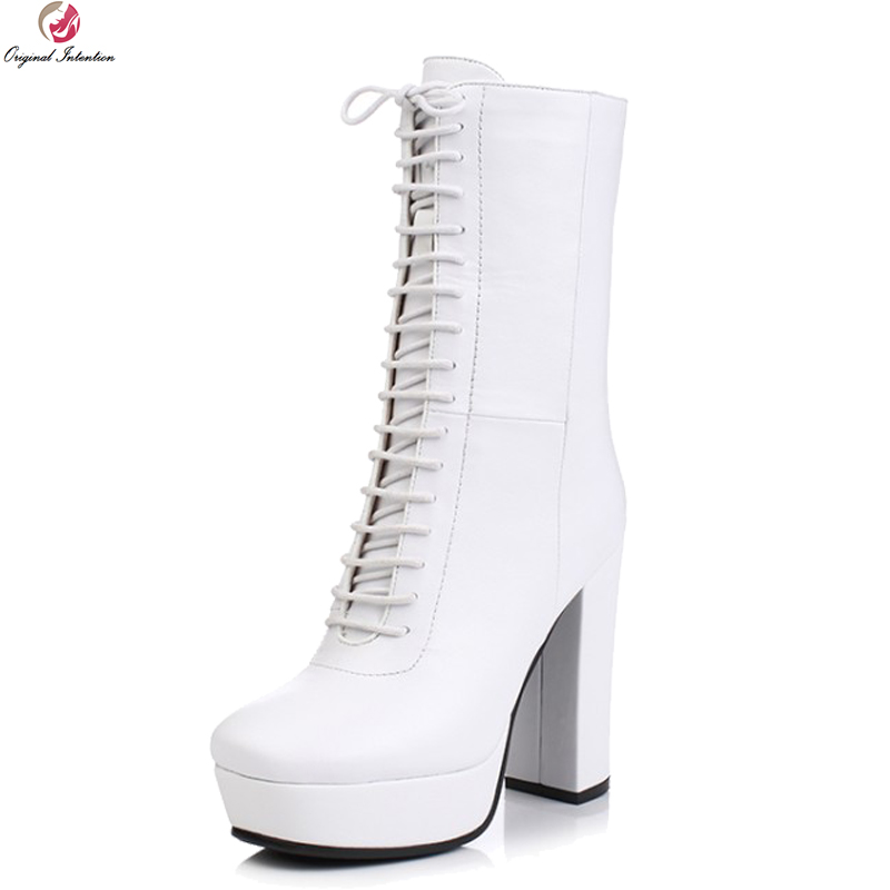 Original Intention New High-quality Women Mid-Calf Boots Square Toe Square Heels Boots Black White Shoes Woman US Size 3-9.5 original intention stylish women mid calf boots round toe square heels boots high quality black shoes woman plus us size 4 15