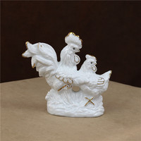 Porcelain Lovers Chicken Miniature Decorative Ceramic Rooster and Hen Figurine Couple Present Art and Craft Ornament Accessories