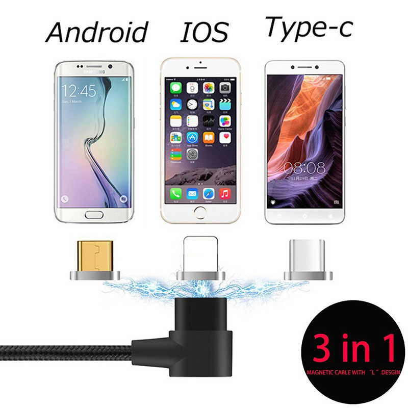 90 Derajat Sudut Kanan USB Tipe C/Ios/Mikro Usb 3 Dalam 1 Magnetik Pengisian Kabel Cepat Pengisi Daya nilon Dikepang Kabel Pengisi Daya Magnet