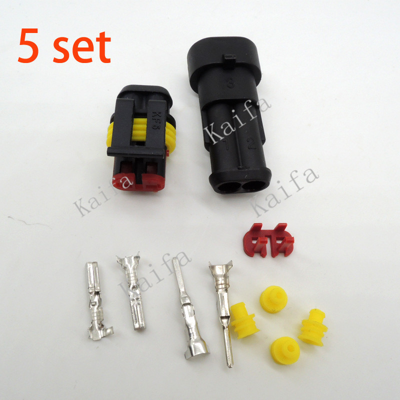 5 sets Kit 2 pin 2/3/4/5/6 pins Way Super seal  Waterproof Electrical Wire Connector Plug for car цена и фото