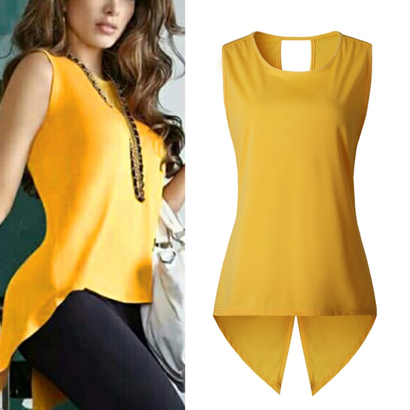 Women Irregular Sexy Tops T-shirts Fashion Summer Yellow Tees Casual Sleeveless Hollow Out O-Neck T-shirt