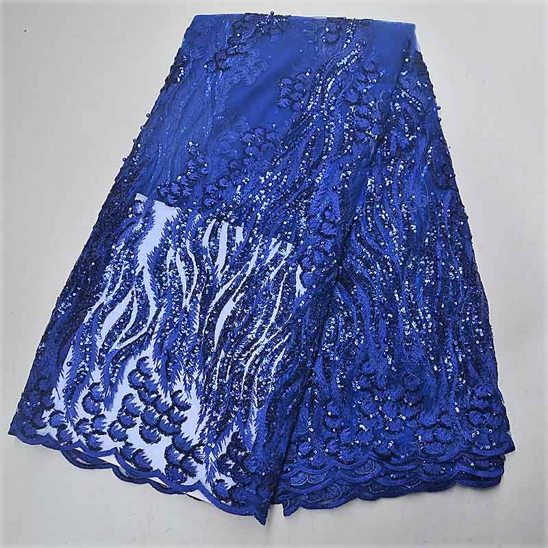 Royal blue African Lace Fabric 2019 High quality Sequins lace French Tulle Mesh Fabric Nigerian Net