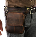 2016 New Top Quality Genuine Real Leather men vintage Brown Small Hip Bum Belt Bag Waist Pack Drop Leg Bag 211-1