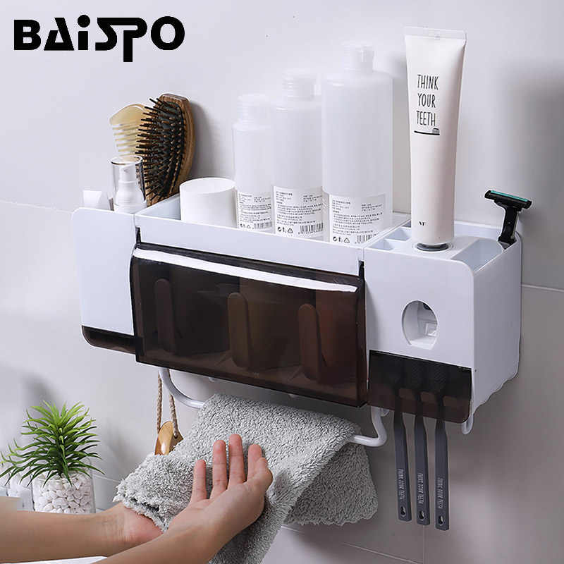 BAISPO Wall Mount Dust-proof Toothbrush Holder With Cups Automatic Toothpaste Squeezer Dispenser Bathroom Accessories Sets