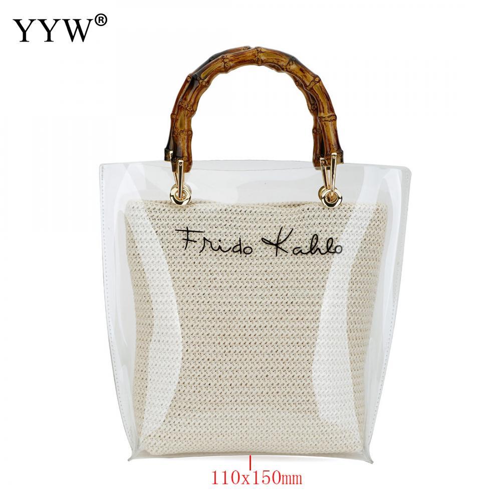 Women Transparent Handbag Beach Bag Clear Sequin Purse Clutch Tote Shoulder Bag