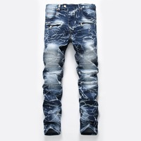 Fashion stripe Straight men Jeans Pants Stretch Steetwear Distressed Motorcycle Denim zipper Trousers Mens jeans homme