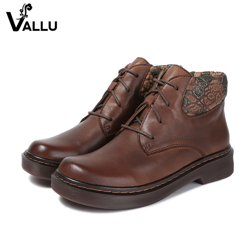 2018 VALLU Women Shoes Ankle Boots Handmade Flower Lace Up Round Toes Square Heels Genuine Leather  Ladies Boots 2018 VALLU Women Shoes Ankle Boots Handmade Flower Lace Up Round Toes Square Heels Genuine Leather  Ladies Boots