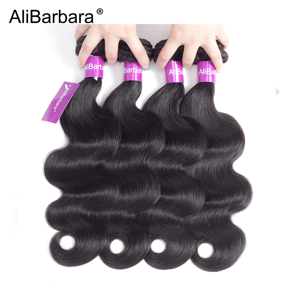 AliBarbara Hair Products Peruvian Body Wave Hair 4 Pcs a lot Human Hair Bundles Remy Hair Extention Natural Black Free Shipping