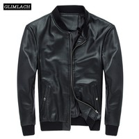 Brand Luxury Men Genuine Leather Jackets Cowhide Aviation Real Leather Jackets Black Cowskin Bomber Jacket Pilot Coats Black New