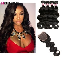 8A Brazillian Body Wave Hair With Closure Ms Lula Hair With Closure And Bundles Silky Brazilian Hair Weave Bundles With Closure