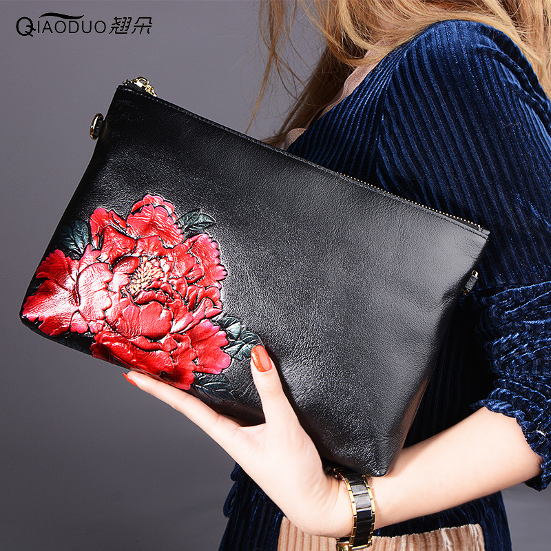 QiaoDuo sacs à main de luxe femmes sacs designer en cuir véritable couleur dessin pochette femme style chinois messenger sacs femmes