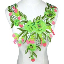 Green Flower Embroidery Applique Pacthes Lace
