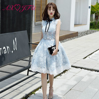986c852cdbf AXJFU Blue Lace Flower Evening Dress Party Black Bow Evening Dress Korean  Student Graduation Party Princess