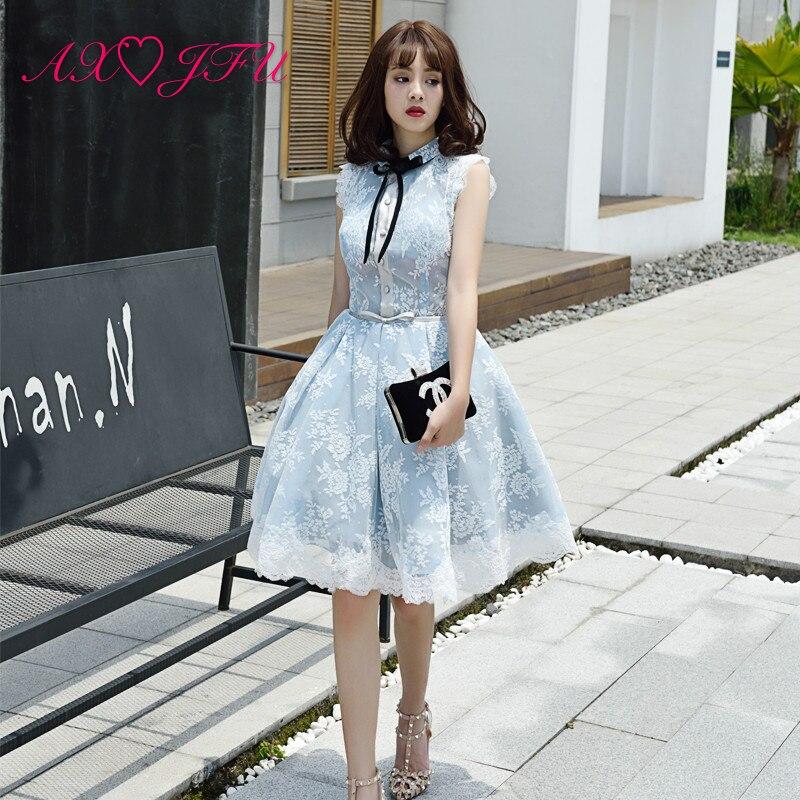 AXJFU blue lace flower   evening     dress   Party black bow   evening     dress   Korean student graduation party princess flower   evening     dress