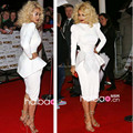 Vintage Rita Ora HIgh Neck Satin Empire Waist with Peplumn Long Sleeve Short White Prom Gowns 2014 Celebrity Dresses