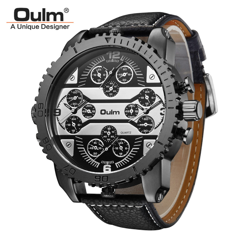Luxury Men's Oulm Watch Sport relojes Japan Double Movement Square Dial Compass Function Military Cool Stylish Wristwatches 2017 luxury men s oulm watch sport relojes japan double movement square dial compass function military cool stylish wristwatches