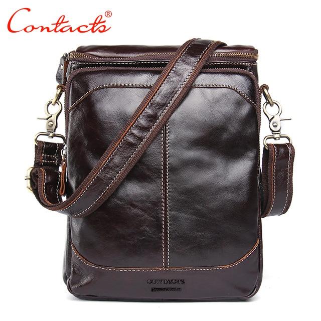CONTACT'S Genuine Leather Genuine Men Messenger Bags Messenger Bags Small Dark Travel Brown Shoulder Strap Shoulder Bag For Men
