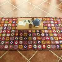 Модное женское одеяло ручной работы, квадратное вязаное крючком одеяло, подушка из войлока, плоский стол, льняное одеяло