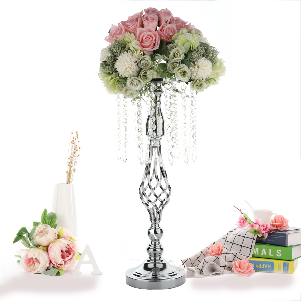 20 x 52cm Crystal Candle Holders Metal Candlestick Flower Vase Table Centerpiece Event Flower Rack Road Lead Wedding Decoration image