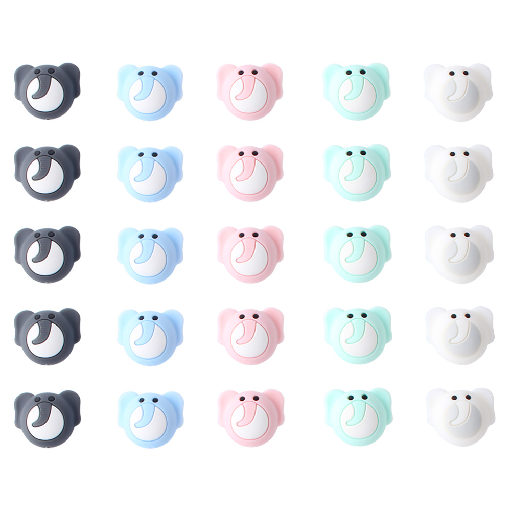 24mm 400pcs Silicone Beads Cute elephant Silicone Teething Beads Accessorie silicone rodent Making Necklace Pendant Baby Product
