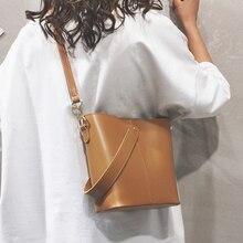 2017 new female bag bucket bag korean simple fashion satchel all match bulk bag ETAILL Fashion All-match Bucket Bag Female Composite Bag PU Leather One Shoulder Women's Luxury Brand Designer Crossbody Bags