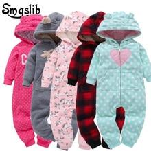Купить с кэшбэком 6M-24M Baby winter jumpsuit coral fleece baby pajamas Cotton Padded Thick Newborn toddler boy Girl romper baby onesie Overalls