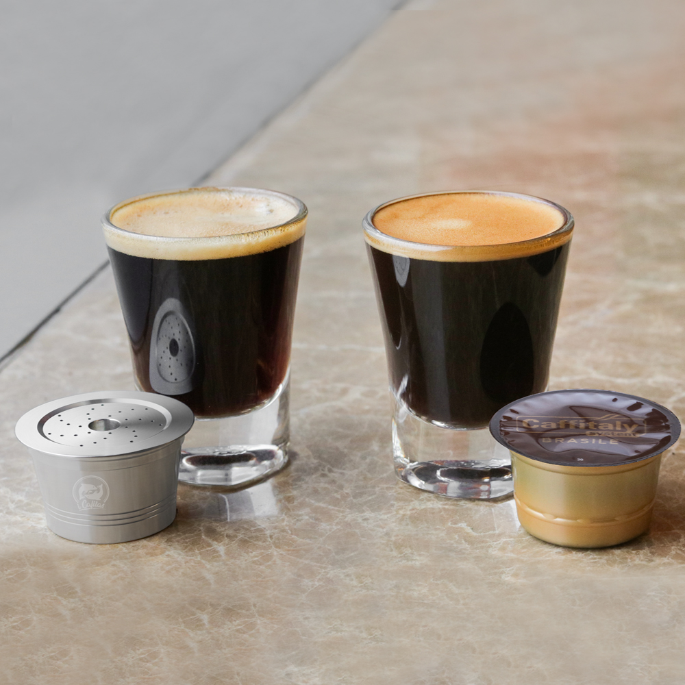 Reusable Caffitaly Coffee Pod Crema Compared To Regular Coffee