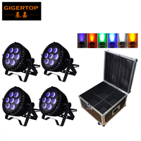 Gigertop 4XLot Outdoor 130W LED RGBWA UV 6in1 18W Led Par Light DMX Par High Power Par Cans Super Bright 4IN1 Flightcase Pack