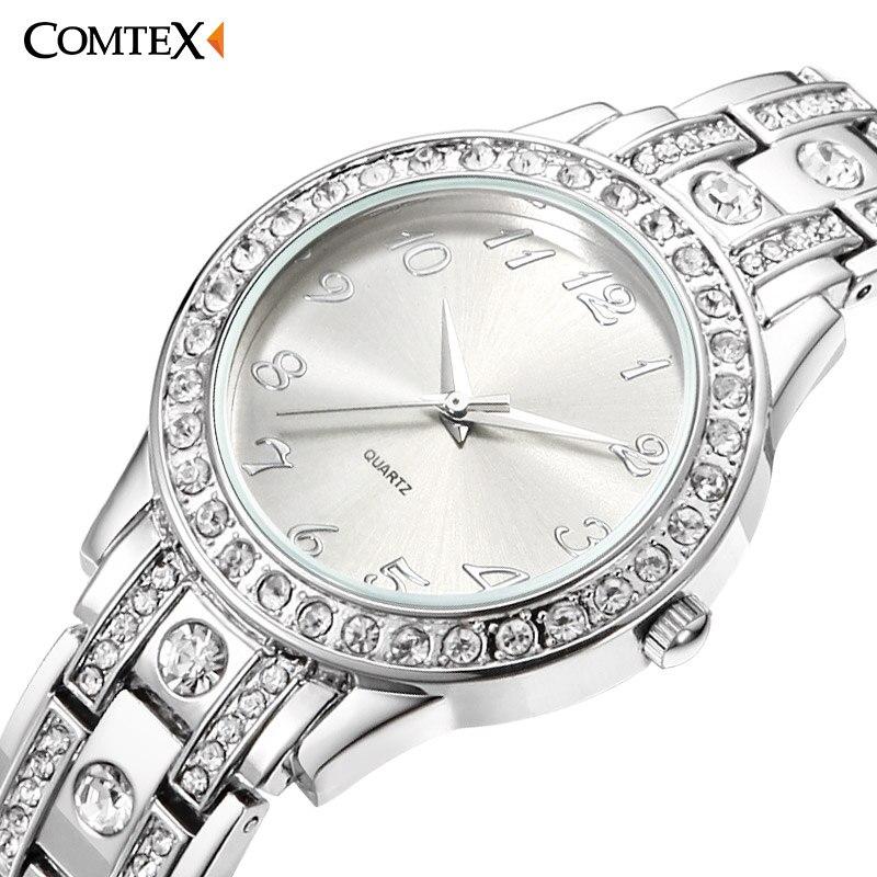 Fashion Women Watches Diamond Analog Display Stainless Steel Elegant Quartz Watch Life Waterproof Good Gift Lady Watch With Box