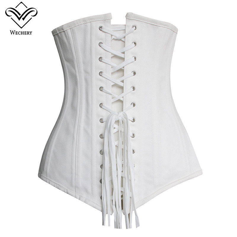 Image 2 - Wechery Steampunk Corset Sexy Underbust  Push Up Corsets Plus Size Lace Up Waist Trainer Vintage Posture  Show Gorset Bustiers-in Bustiers & Corsets from Underwear & Sleepwears