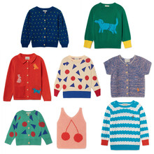 8a7c653ec Girls sweaters Bobo choses 2019 Flowers Cardigan Cherry Top baby girl  sweater Children Clothes Knitted sweater
