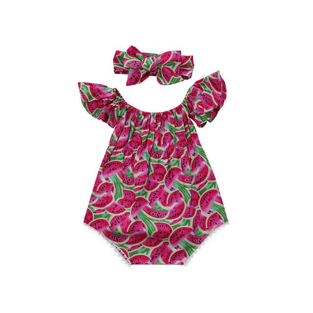 27e0650949 0-24M Newborn Infant Baby Girl Cute Lovely Short Sleeve Watermelon Print Red  Bodysuit Playsuit Headband 2PCS Outfit Summer Party