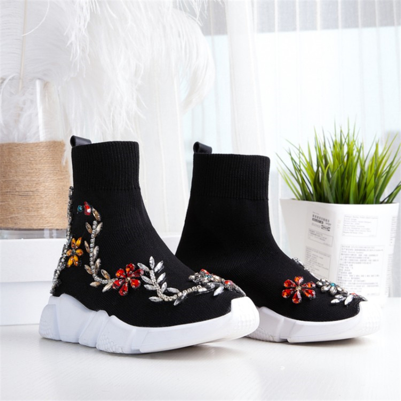 Cristal D'hiver Mode vert Femmes Rond Noir Perle Fleur Plate Chaîne rouge Sneakers Cheville Tricoter Noir forme Bottes Bout Ouqinvshen À blanc OkNn0P8wX