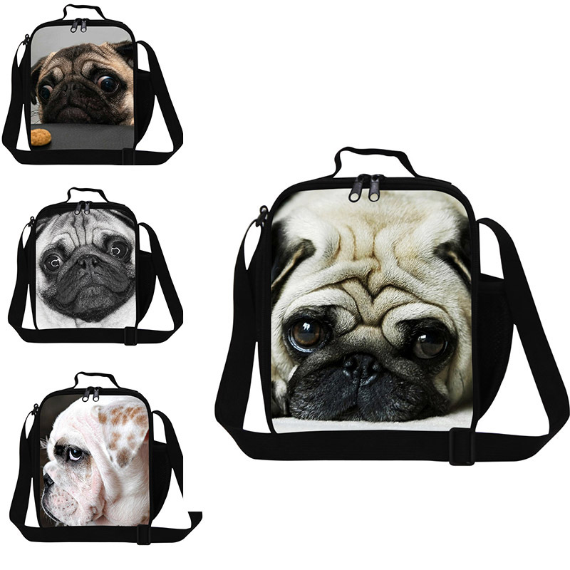 animal pug dog print lunch bag children thermal lunch box bag Insulated lunch container for girl school boys Travel cooler Kids
