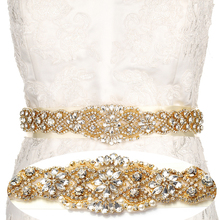 YANSTAR Bridal Rhinestone Wedding Belts Gold Crystal Iron On Ribbons With Box For Bridal Gowns