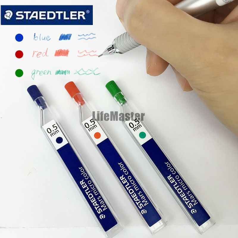 LifeMaster Staedtler Mars Micro Color 254 Mechanical Pencil Lead 0.5 mm Red/Blue/Green School & Office Supplies